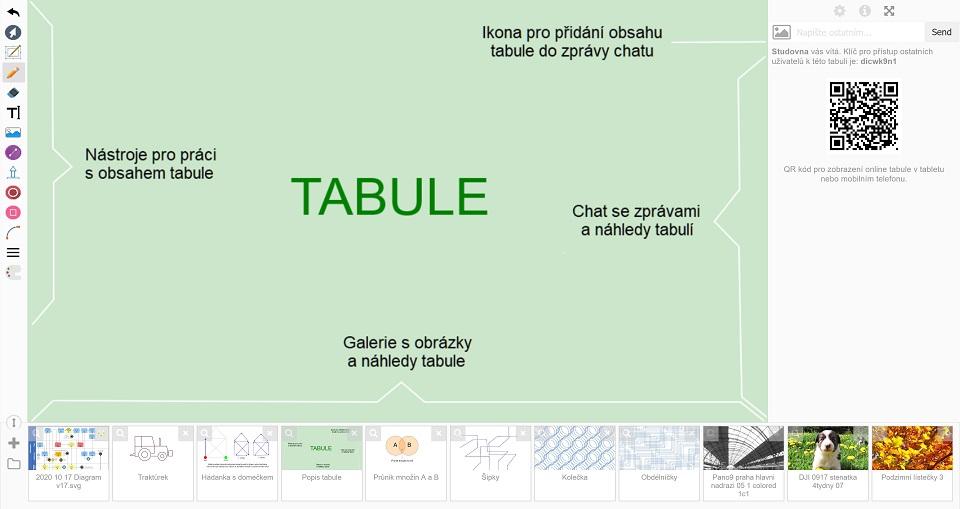Náhled webové aplikace online tabule (whiteboardu)
